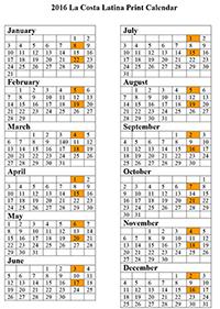 2017 La Costa Latina Print Calendar