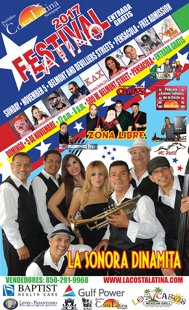 Announcement for the 2017 Latino Festival in Pensacola