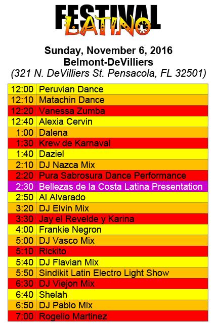 Performance Schedule Belmont-Devilliers Pensacola, FL