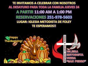 Desayuno para toda la familia en la Iglesia Metodista de Foley, jueves, 24 de noviembre
