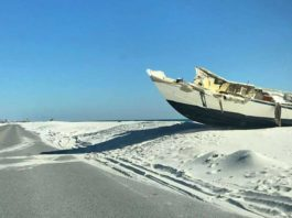 wrecked ship on sand