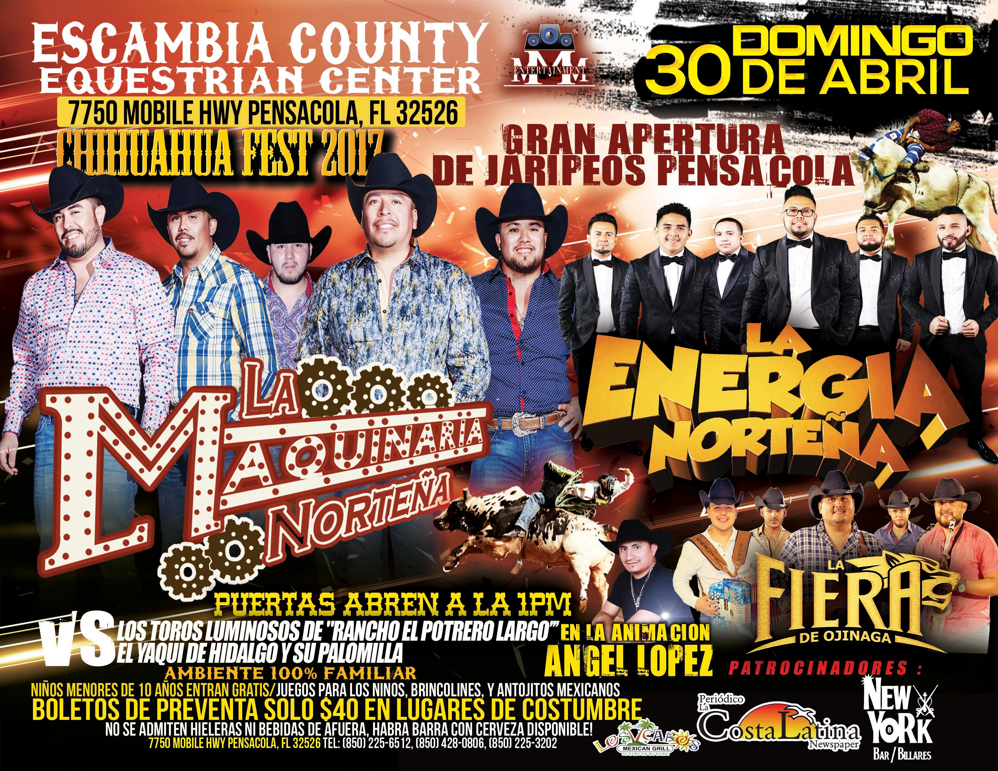 jaripeo flyer with la maquinaria norteña and la fiera bands