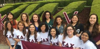 Seven founding UWF members and Kappa Delta Chi sisters who initiated them.