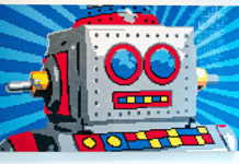 robot shaped by lego bricks