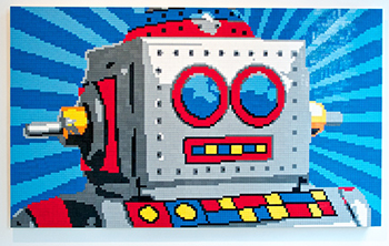 robot shaped by lego bricks