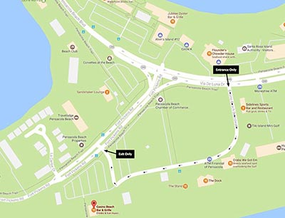 Pensacola Beach map showing entrance and exit at Casino Beach