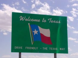 Welcome to Texas state border sign