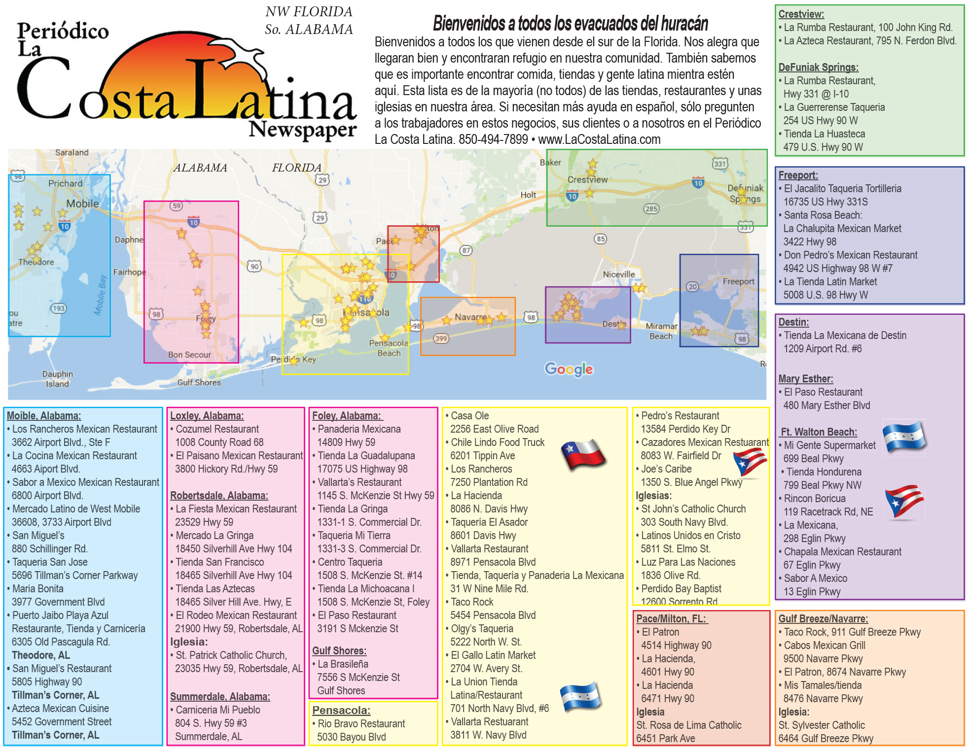 List of latino stores, restaurants and some stores