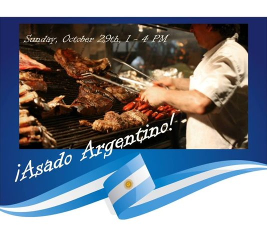 meat cooking on a barbeque grill with announcement of Asado Argeninto event of October 29, 2017