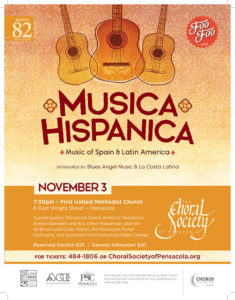 Musica hispanica event depicted with three guitars