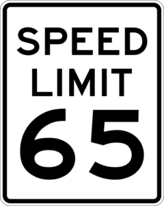 65 miles per hour speed limit sign
