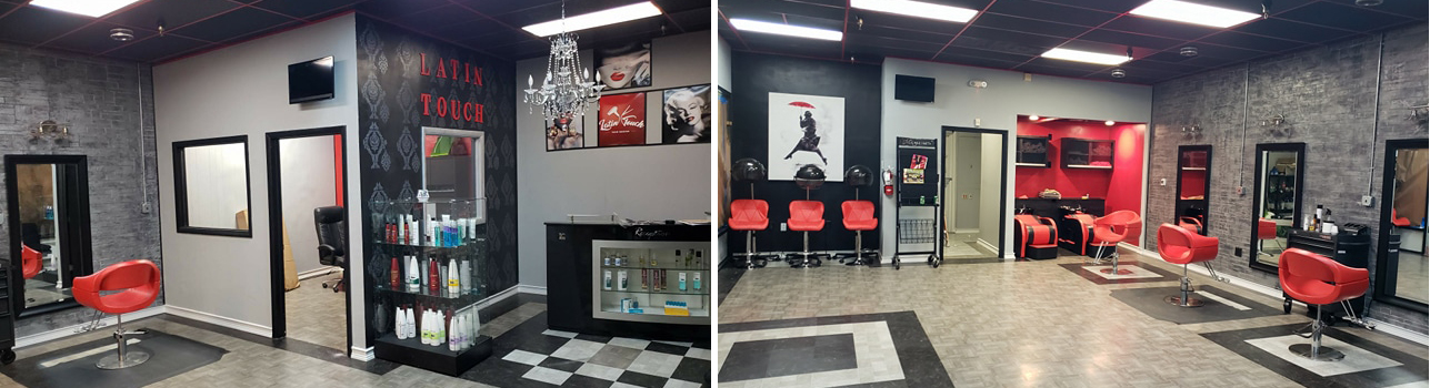 beauty salon decorated in black, white and red