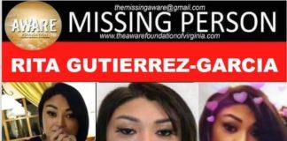 "Missing: Rita Gutierrez-Garcia, age 34, eyes brown, hair brown, height 5'7"", Weight 140lbs."