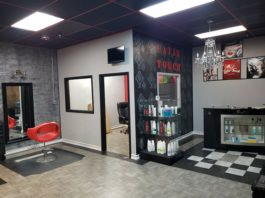 beauty salon decorated in black white and red