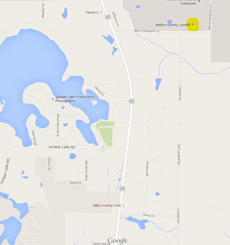 Map of Wlaton County indicating landfill.