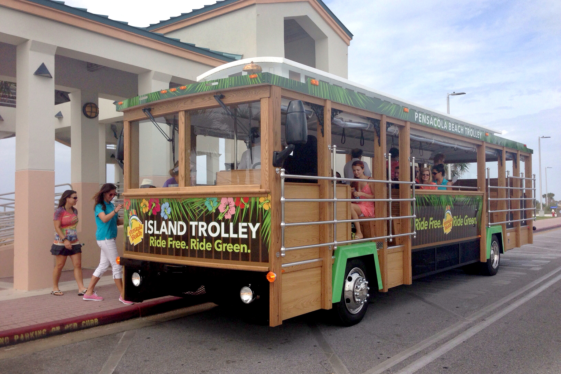 Bus shaped and decorated as a trolley