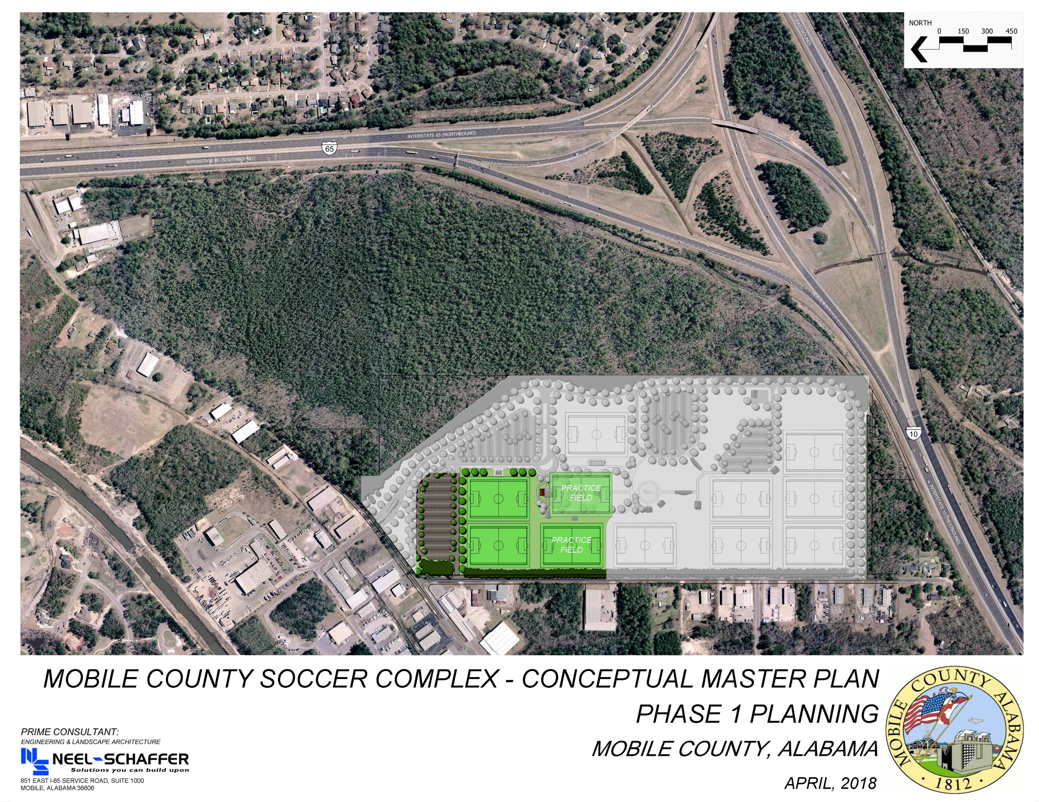 areal conceptual plan map of location where soccer complex will be located