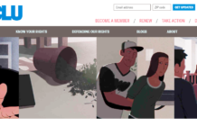 aclu home page showing illustrated examples of immigrants being detained