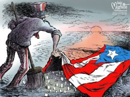 illustration of Uncle Sam sweeping grave stones under the Puerto Rican flag