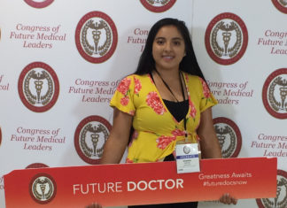 """oung woman holding a sign that says """"Future Doctor"""""""