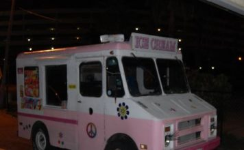 pink and wh ite ice cream truck