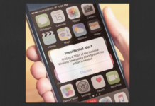 Smart phone displaying Presidential Alert