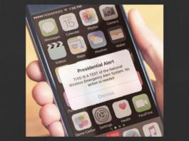 Smart phone displaying Presidential Alert