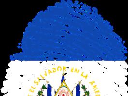 El Salvadorian flag in the shape of a thumb print