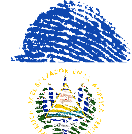 El Salvadorian flag in the shape of a thumb print