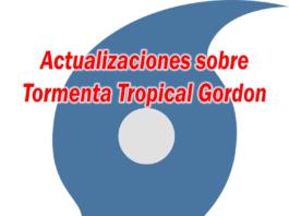 hurricane symbol with text: actualizaciones sobre tormenta tropical gordon