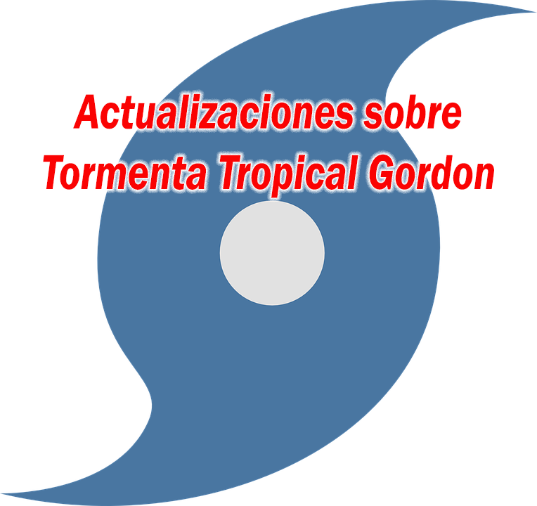 hurricane symbol with text: actualizaciones sobre tormenta tropical gordon