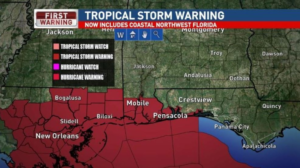 weather map of tropical storm warning for Gulf Coast communites