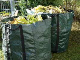 Green bags containing yard trash