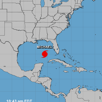 national hurricane center map indicating hurricane michael in the middle of the gulf of mexico
