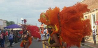 women dressed in with large orange feathers parading down a street
