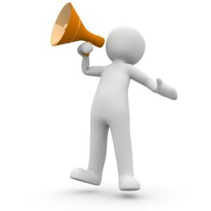 icon representing a person shouting an announcement in a megaphone