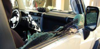 car window broken open