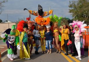 group of people in carnaval costumes