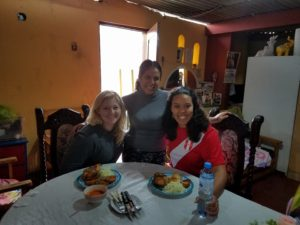 Three women in a restaurant at a table