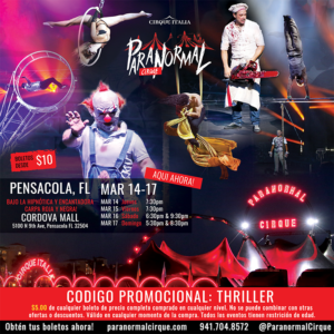 cirque italia terror show flyer with event details
