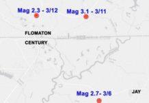 map of Florida-Alabama border indicating Flomaton and Century epicenters