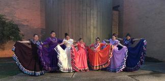 Jalisco dancers extending colorful dresses