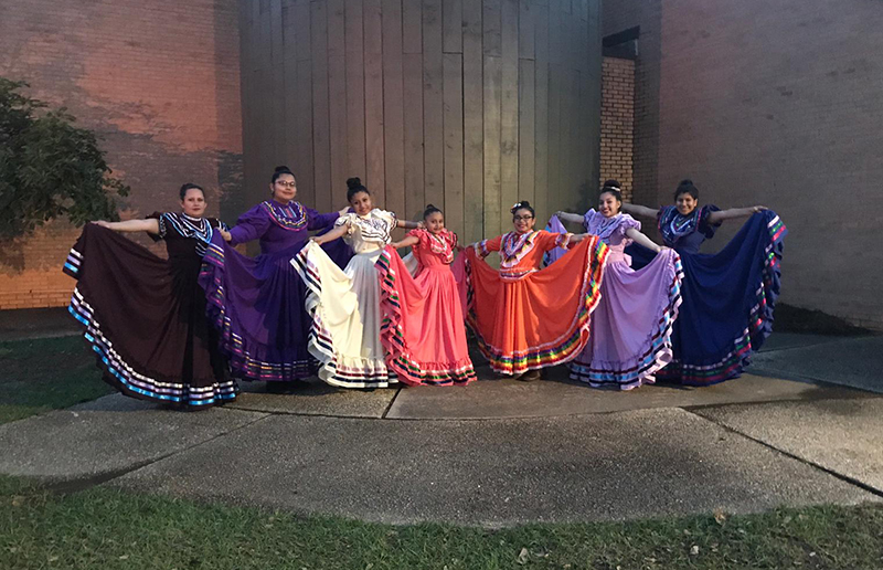 Jalisco dancers extending colorful dresses