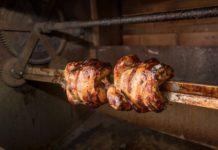 chicken cooking on rotisserie