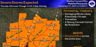 map of severe weather pattern in south Alabama and Northwest Florida