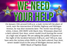 notice from police asking for community help in finding perpetrator