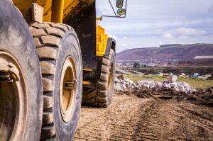 bulldozer in a landfill