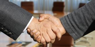 two hands in a handshake