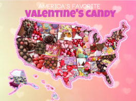 US map with candy filling each state
