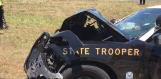 wrecked state trooper car